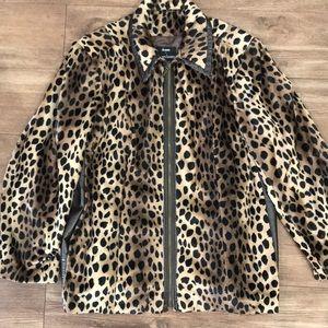 1X Faux fur leopard print coat